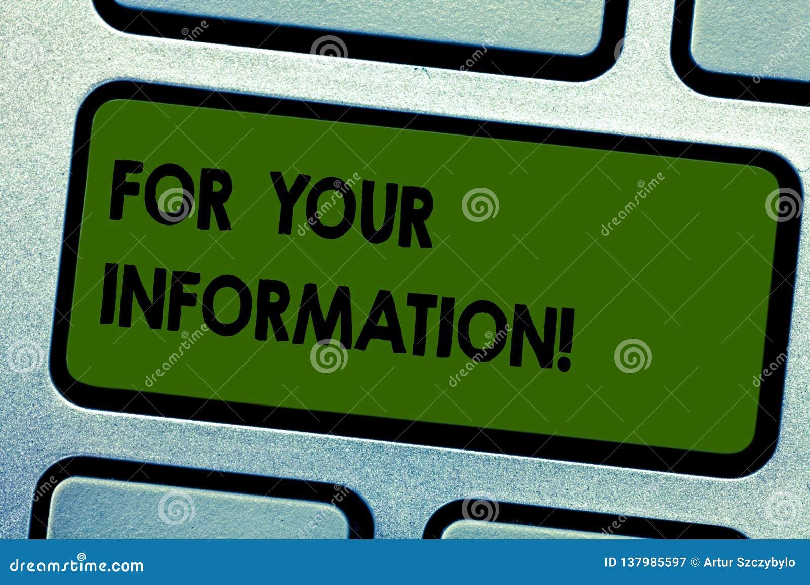 For Your Information för textteckenvisning Begreppsmässig information om foto delas och att ingen nödvändig tangentbordtangent fö