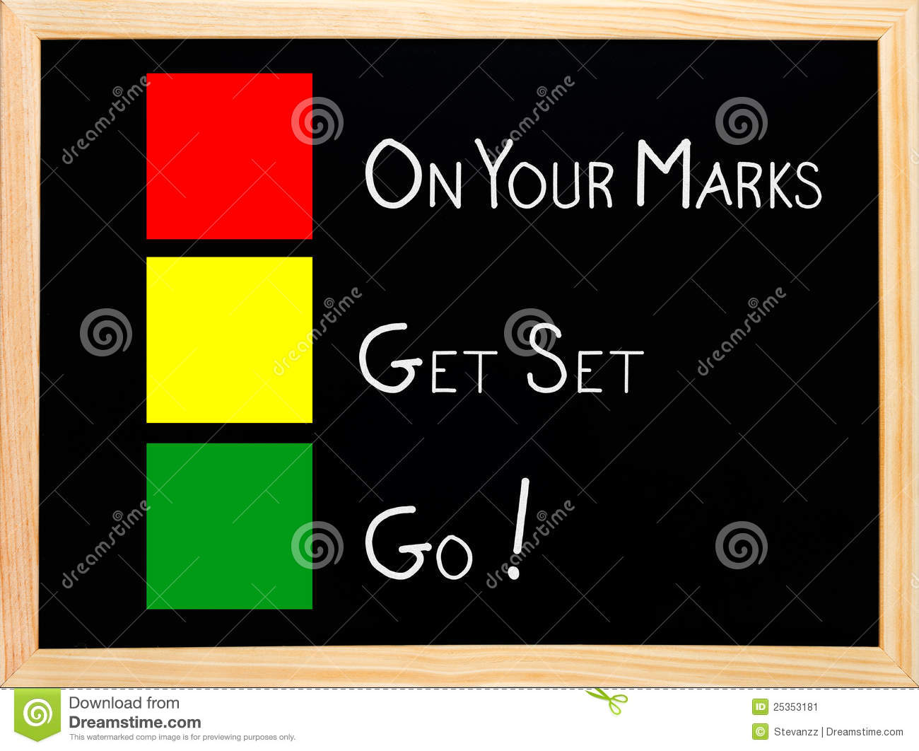 on your mark get set go on blackboard stock image