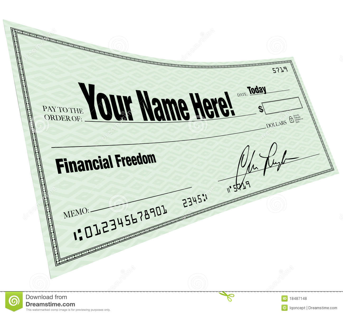 Your Name Here - Financial Freedom Blank Check Royalty ...