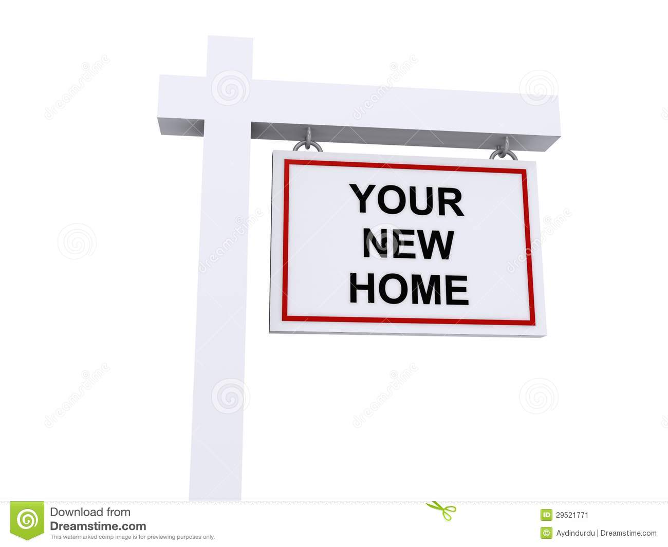 Your new home for sale sign real estate house stock image for New home sign