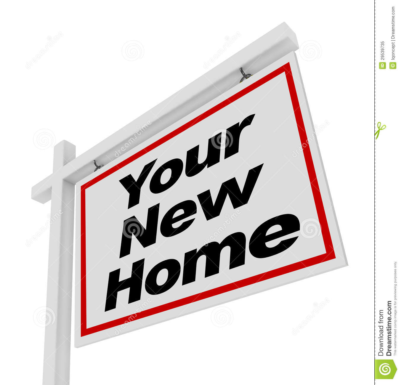 Your new home for sale sign real estate house royalty free for New home sign
