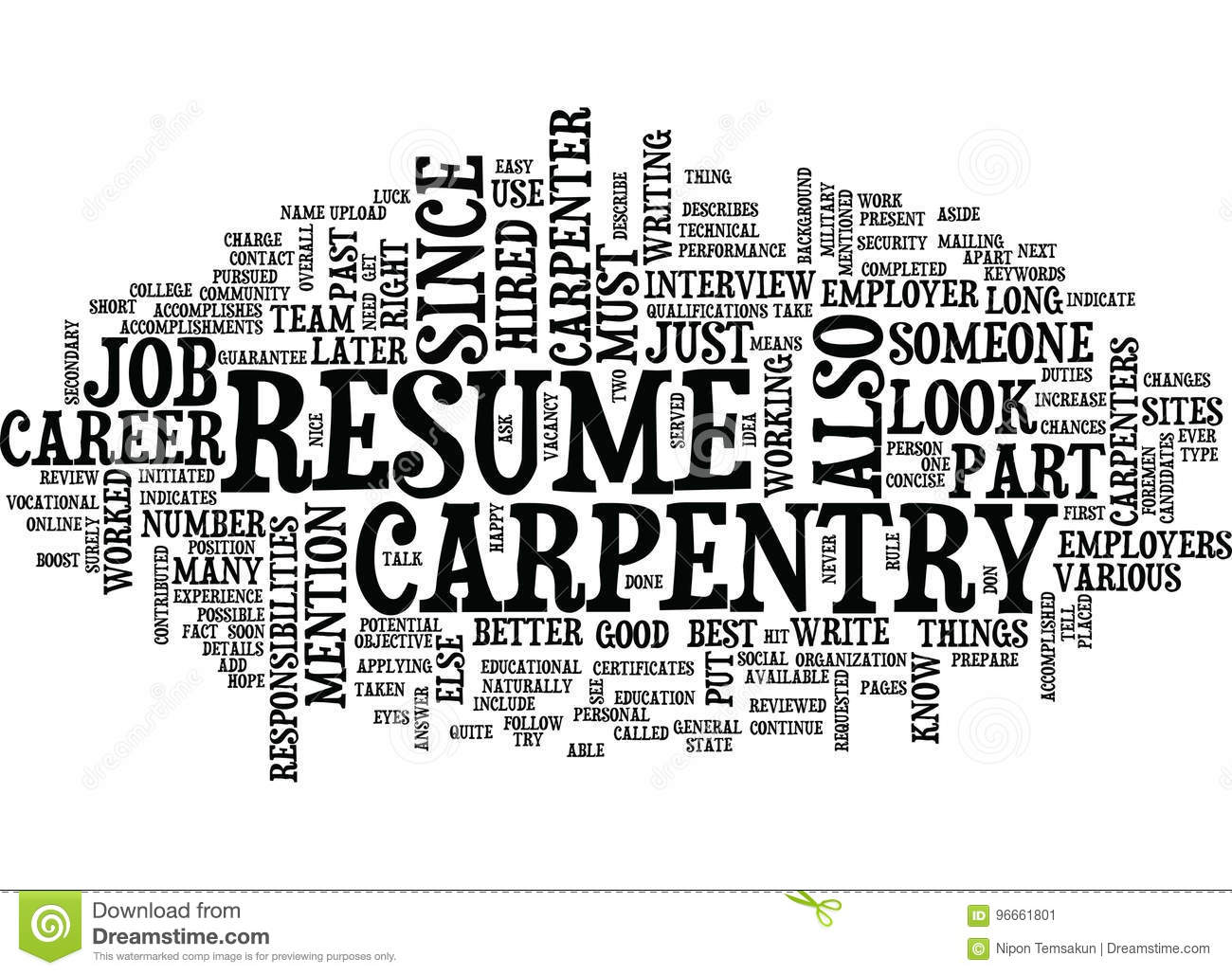 your resume should describe your carpentry career text background word cloud concept