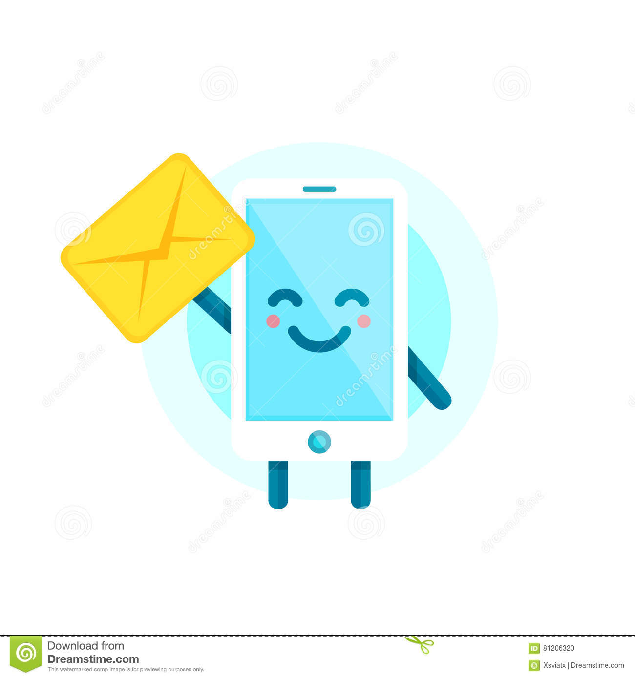 Your Smartphone Friend Have A Message For You Vector Flat