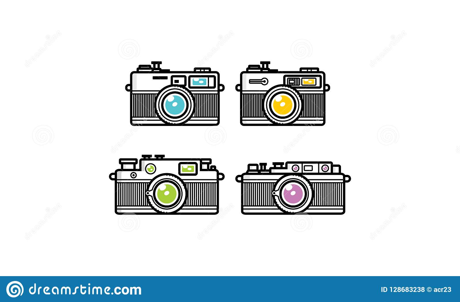 Line Art Camera Logo Icon Vector Stock Vector - Illustration
