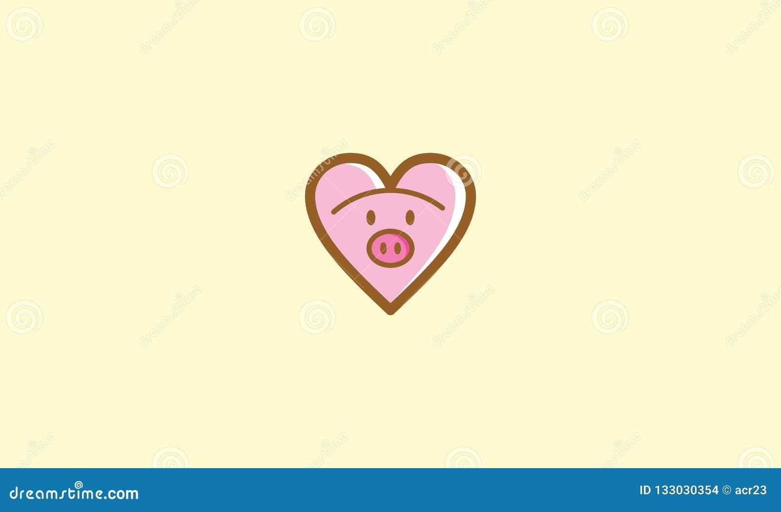 Love Cute Pig Logo Icon Vector Stock Vector Illustration Of Icon
