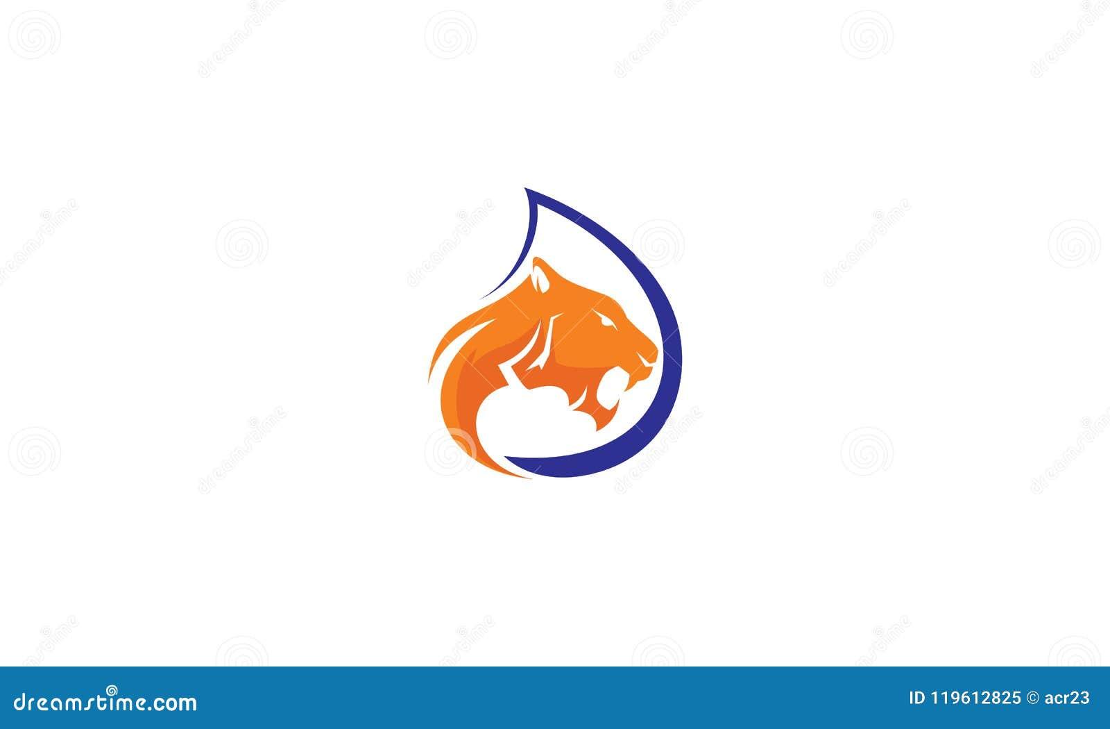 Tiger water logo vector icon