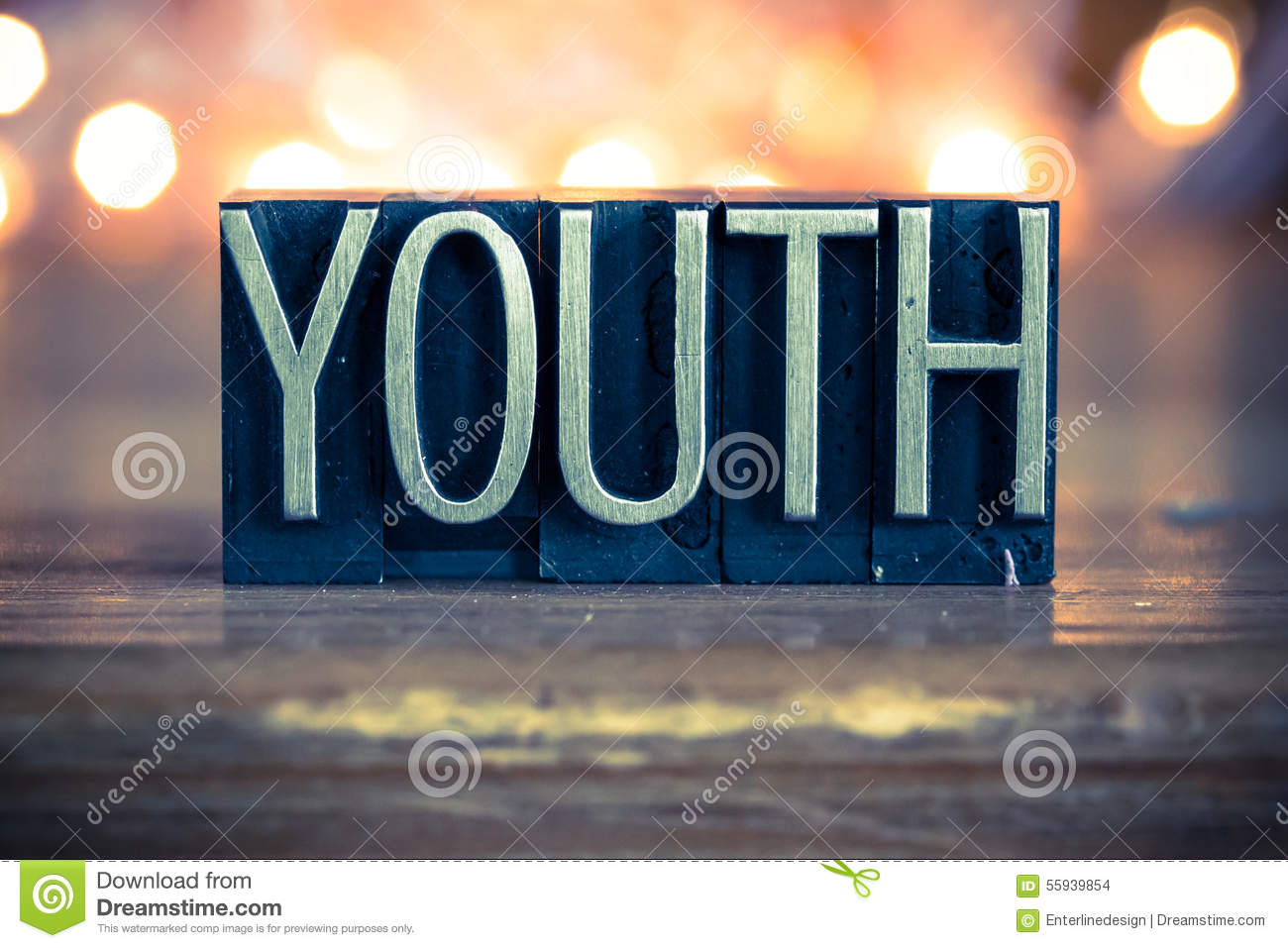 Youth concept metal letterpress type stock photo image for Concept metal