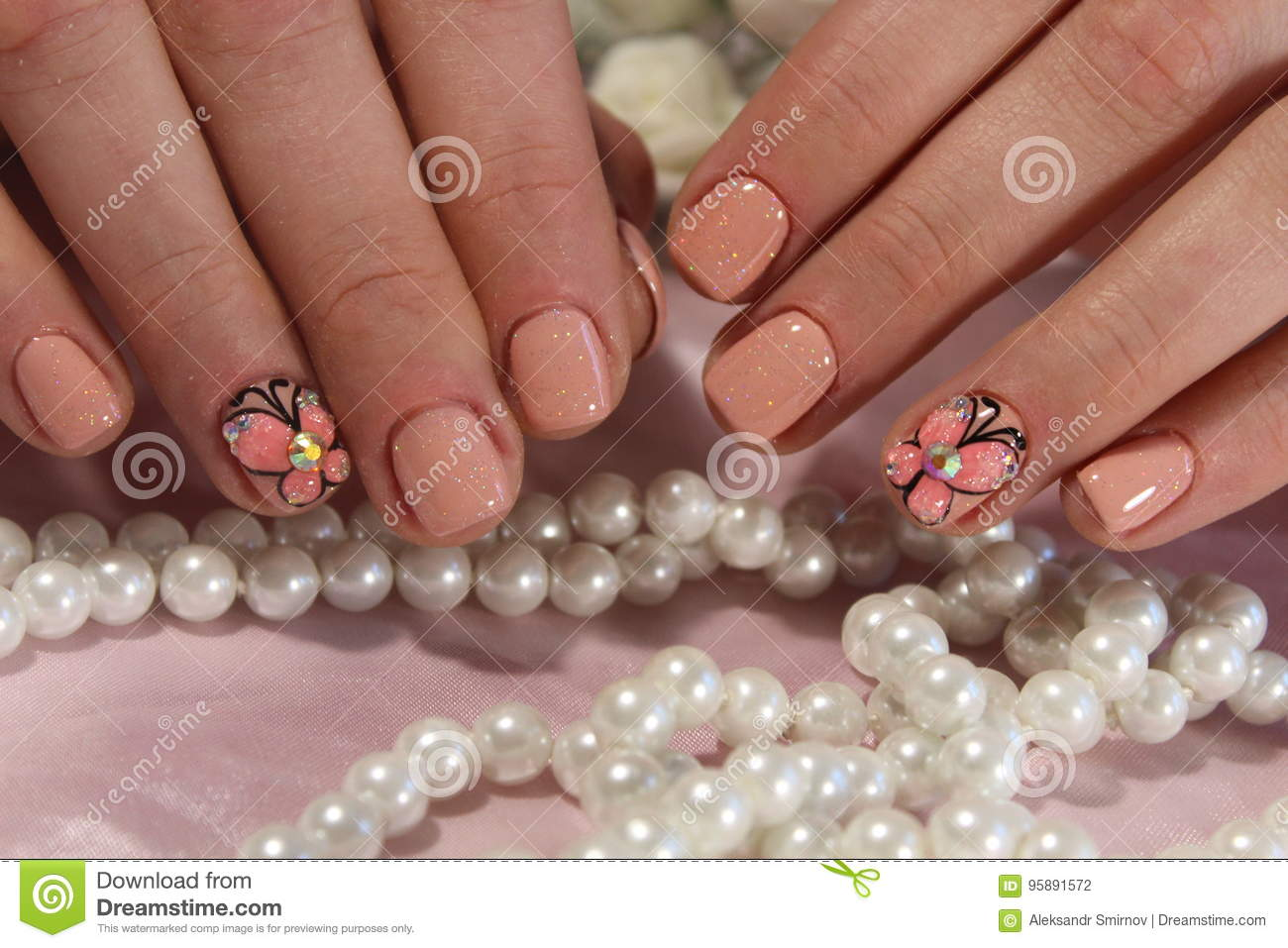 Youth manicure with butterfly