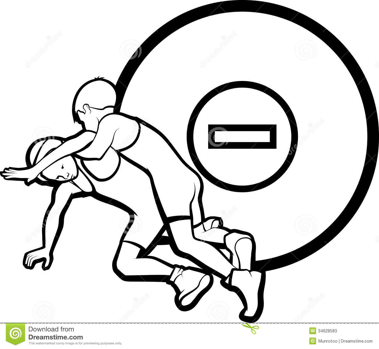 Black and white vector illustration of boy wrestlers with a wrestling ...