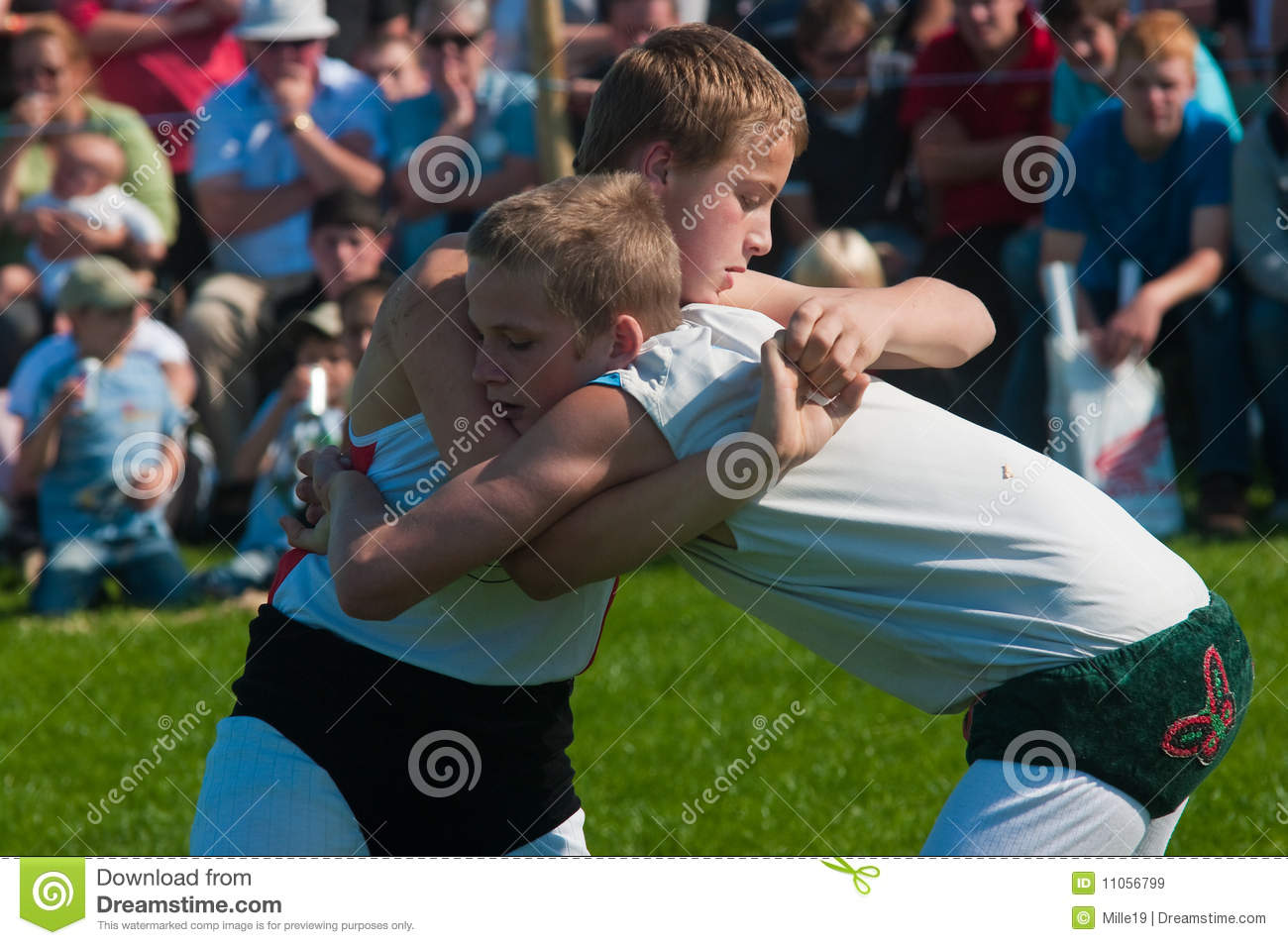 Youths wrestling