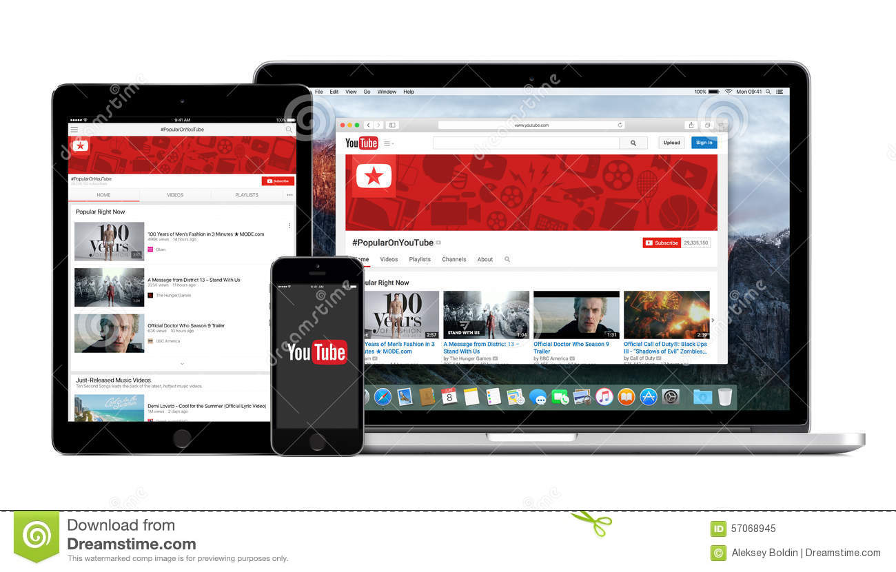 YouTube App Logo On The IPhone IPad And Macbook Pro Screen Editorial