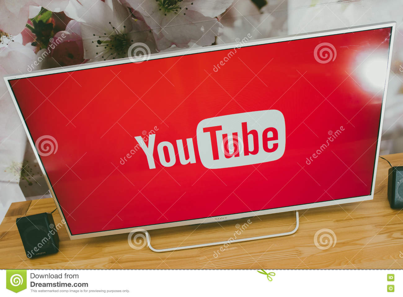 YouTube App On Sony Smart TV Editorial Stock Photo - Image of