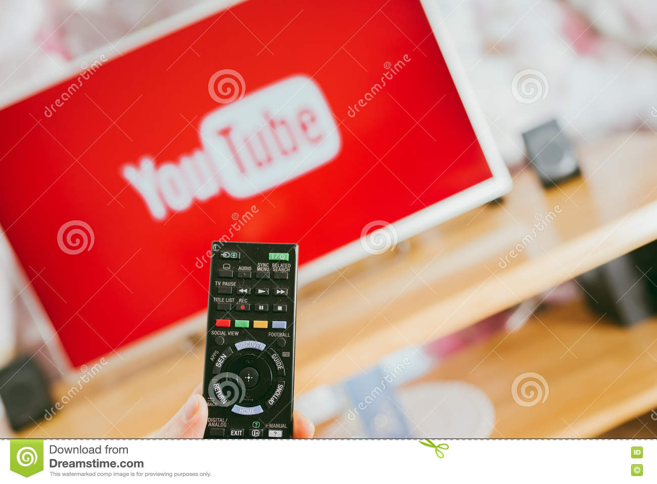 YouTube App On Sony Smart TV Editorial Image - Image of
