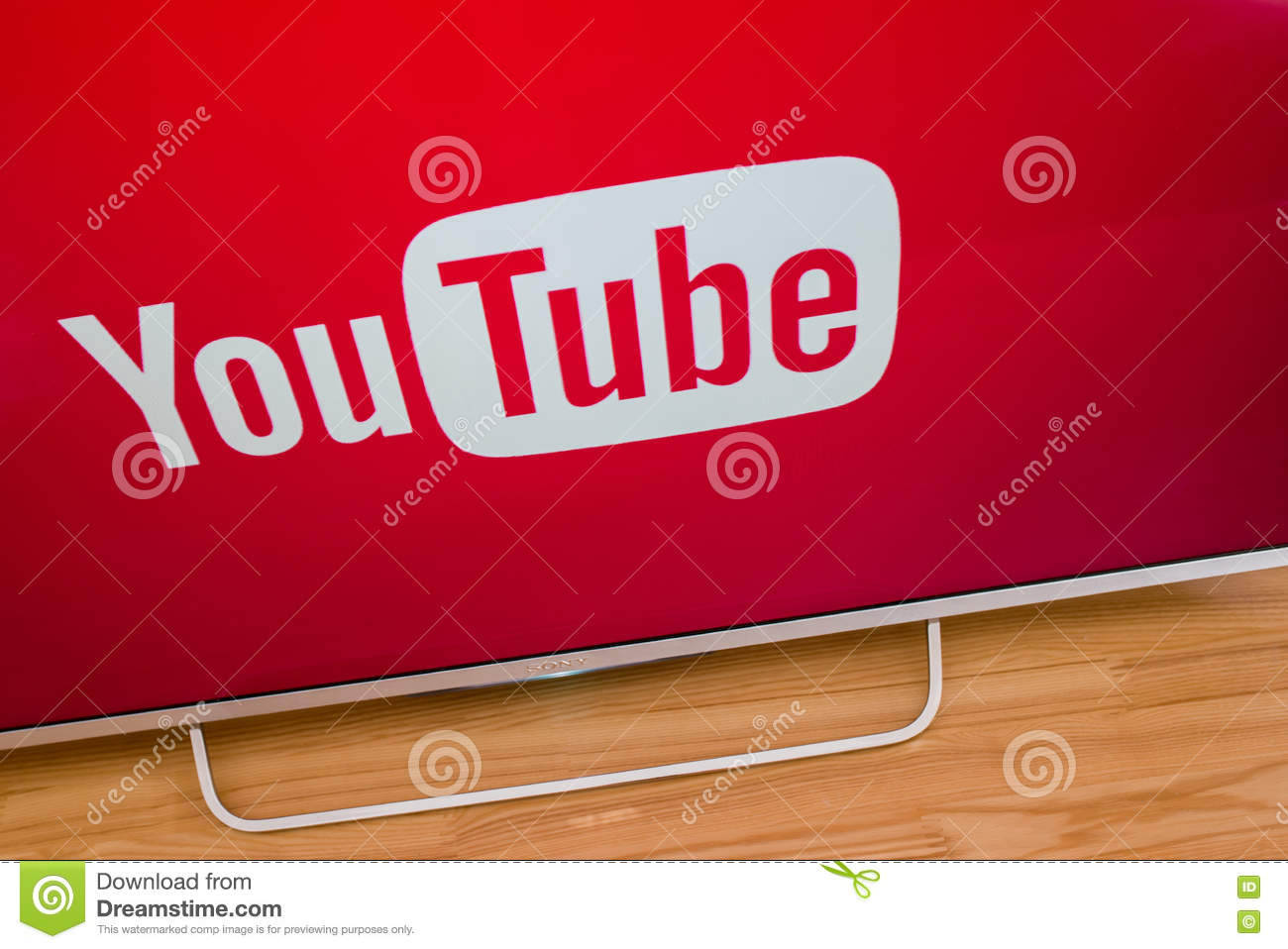 YouTube App On Sony Smart TV Editorial Stock Image - Image of social