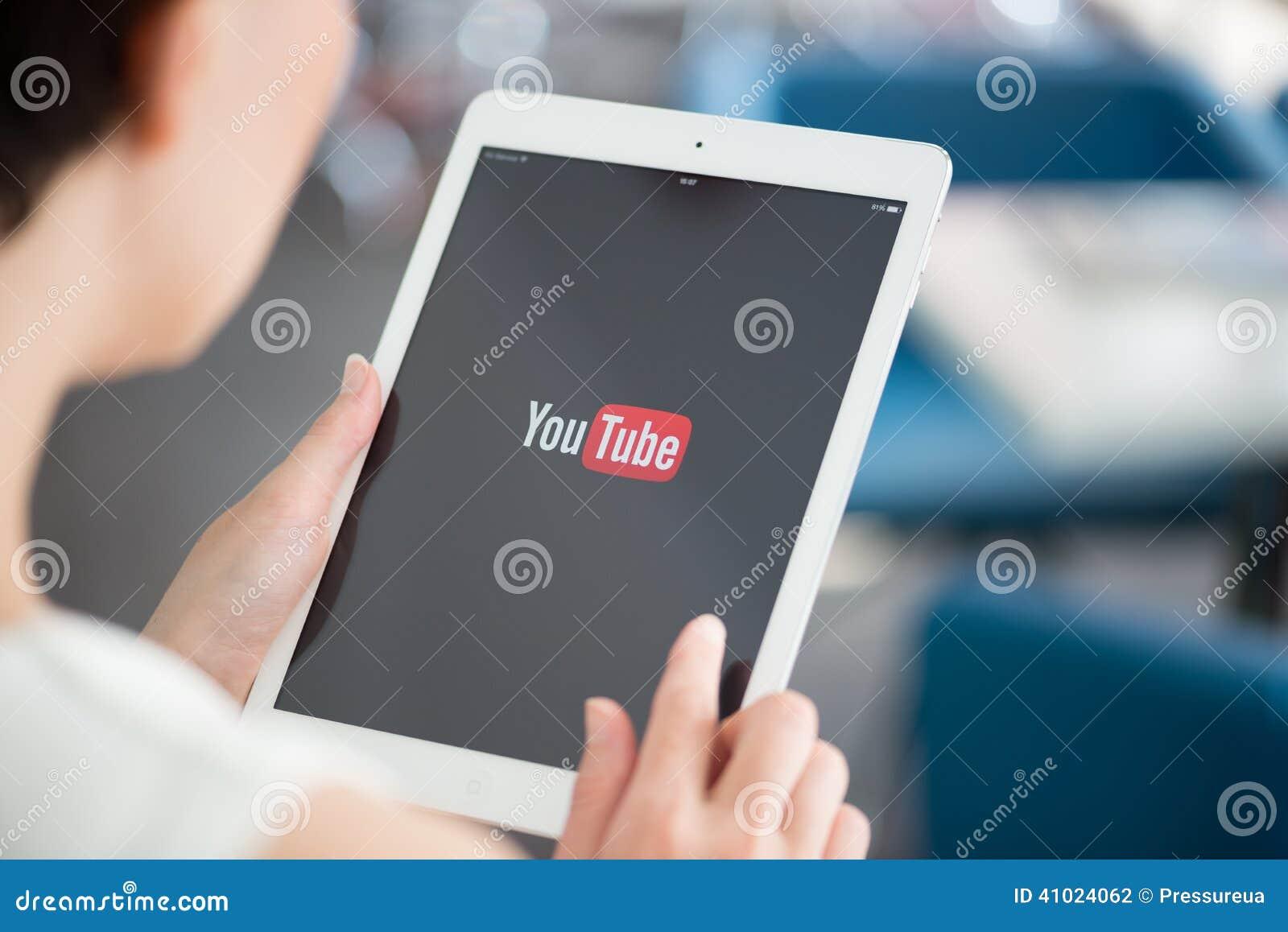YouTube application on Apple iPad Air