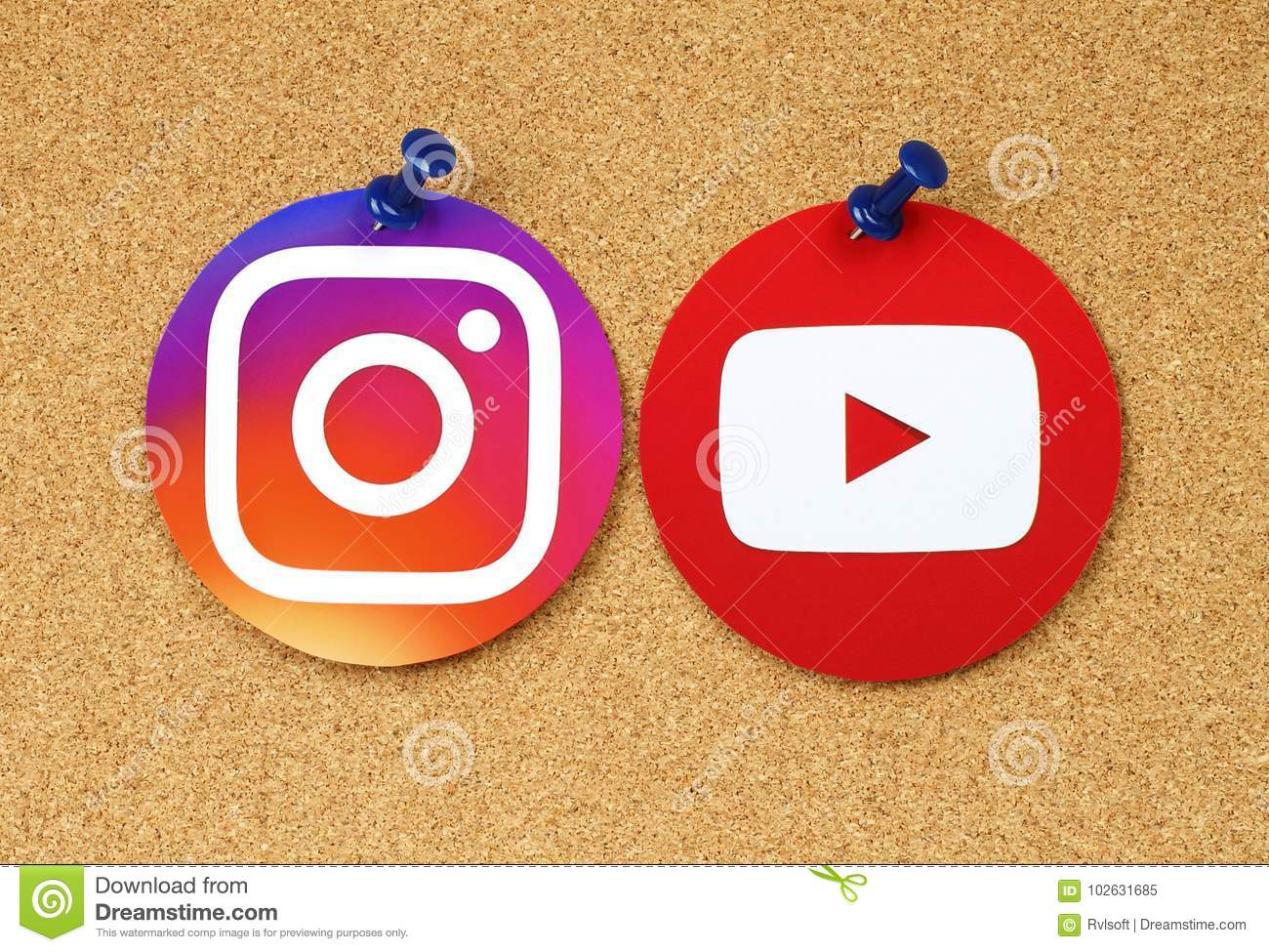Youtube And Instagram Icons Pinned On Cork Bulletin Board Editorial