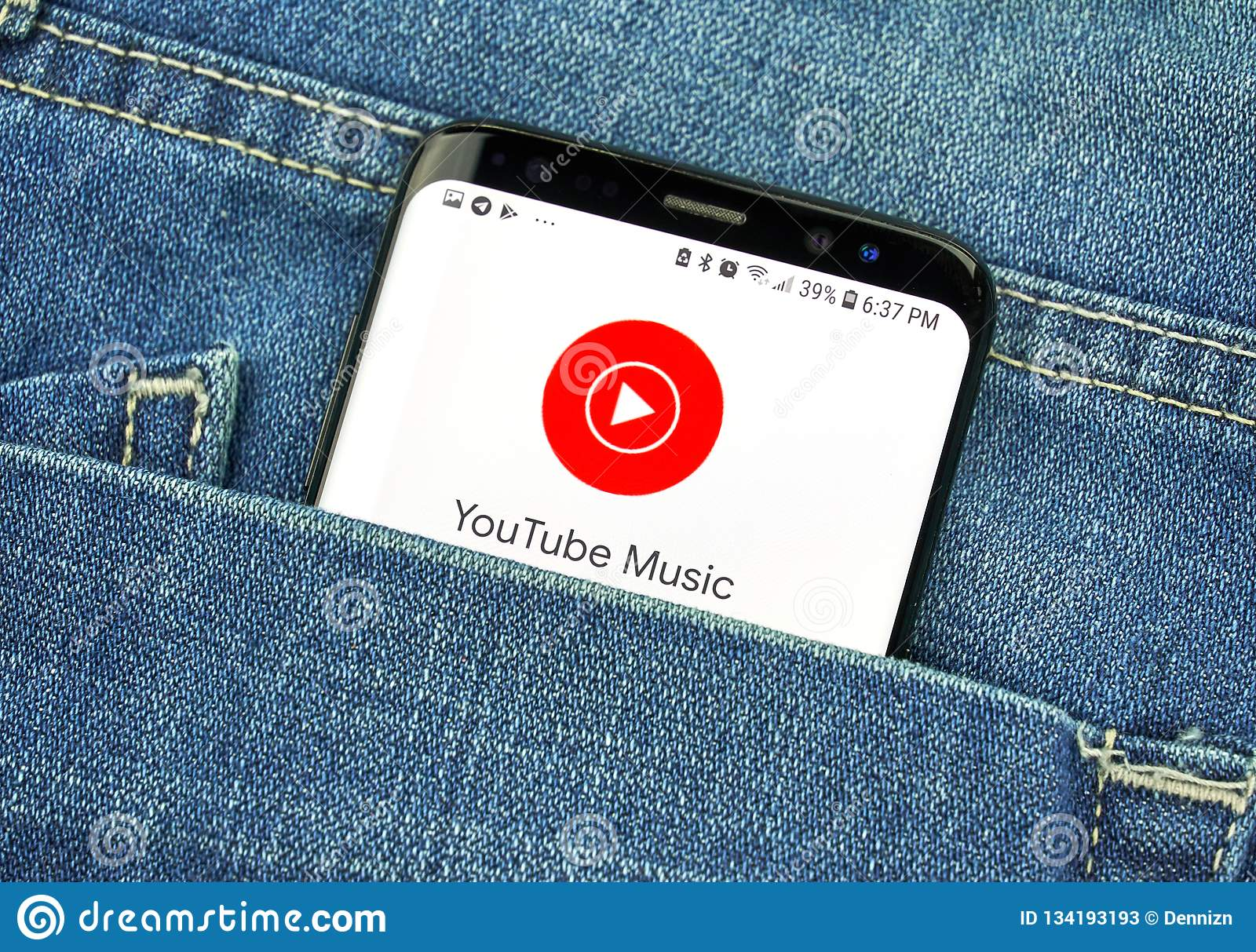 Youtube Music App On A Phone Screen In A Pocket Editorial Stock