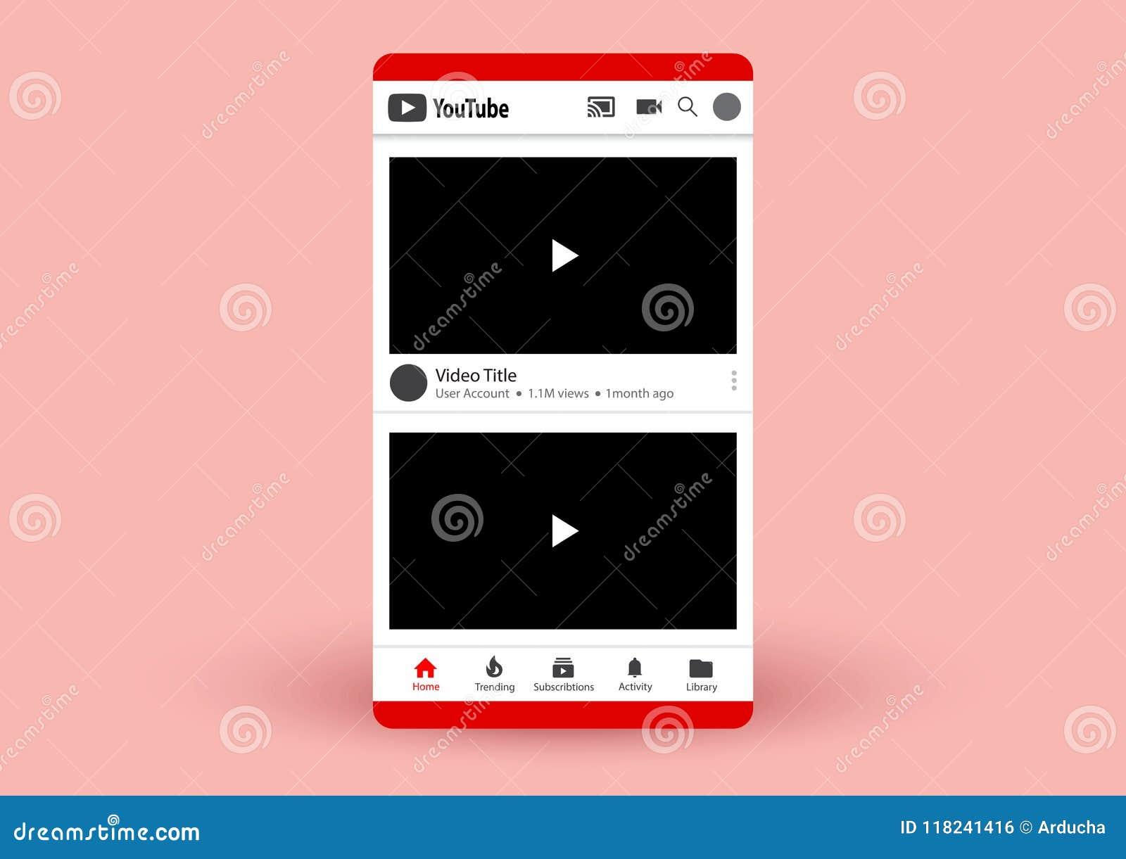 Youtube stock vector  Illustration of blank, vector - 118241416