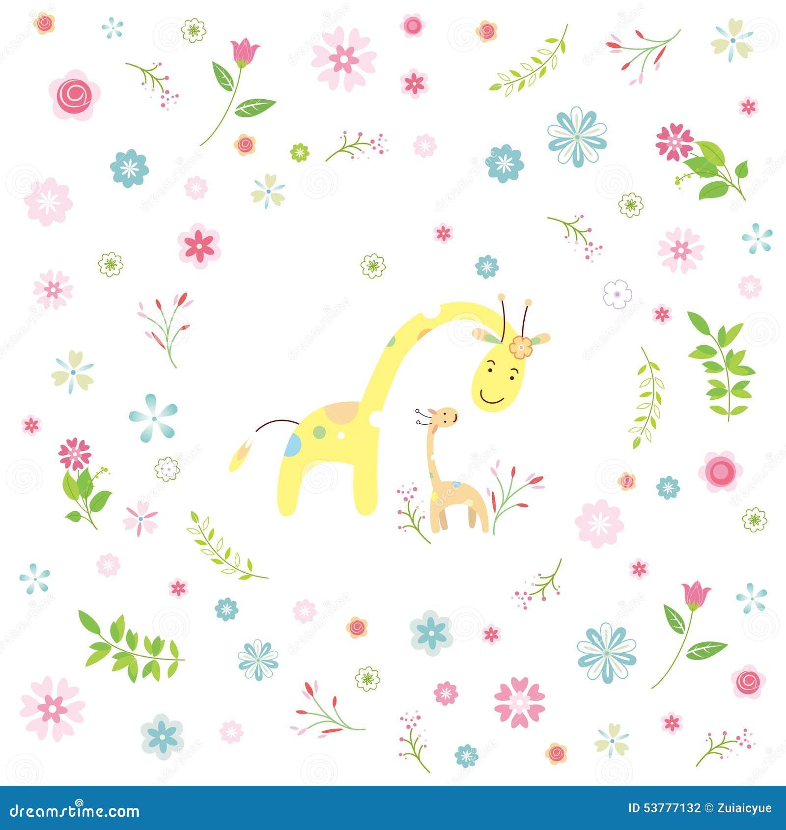 Żyrafy kreskówki kartka z pozdrowieniami
