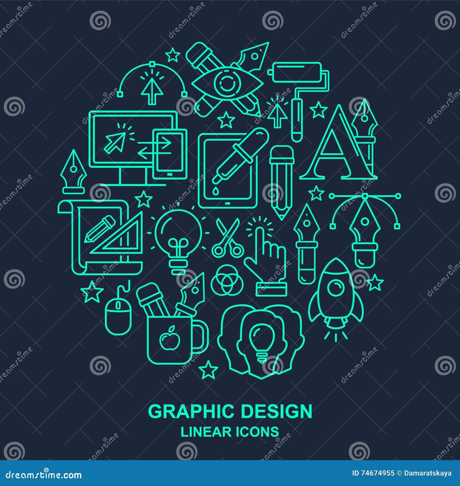 Yrkemodell för grafisk formgivare med linjära symboler för turkos