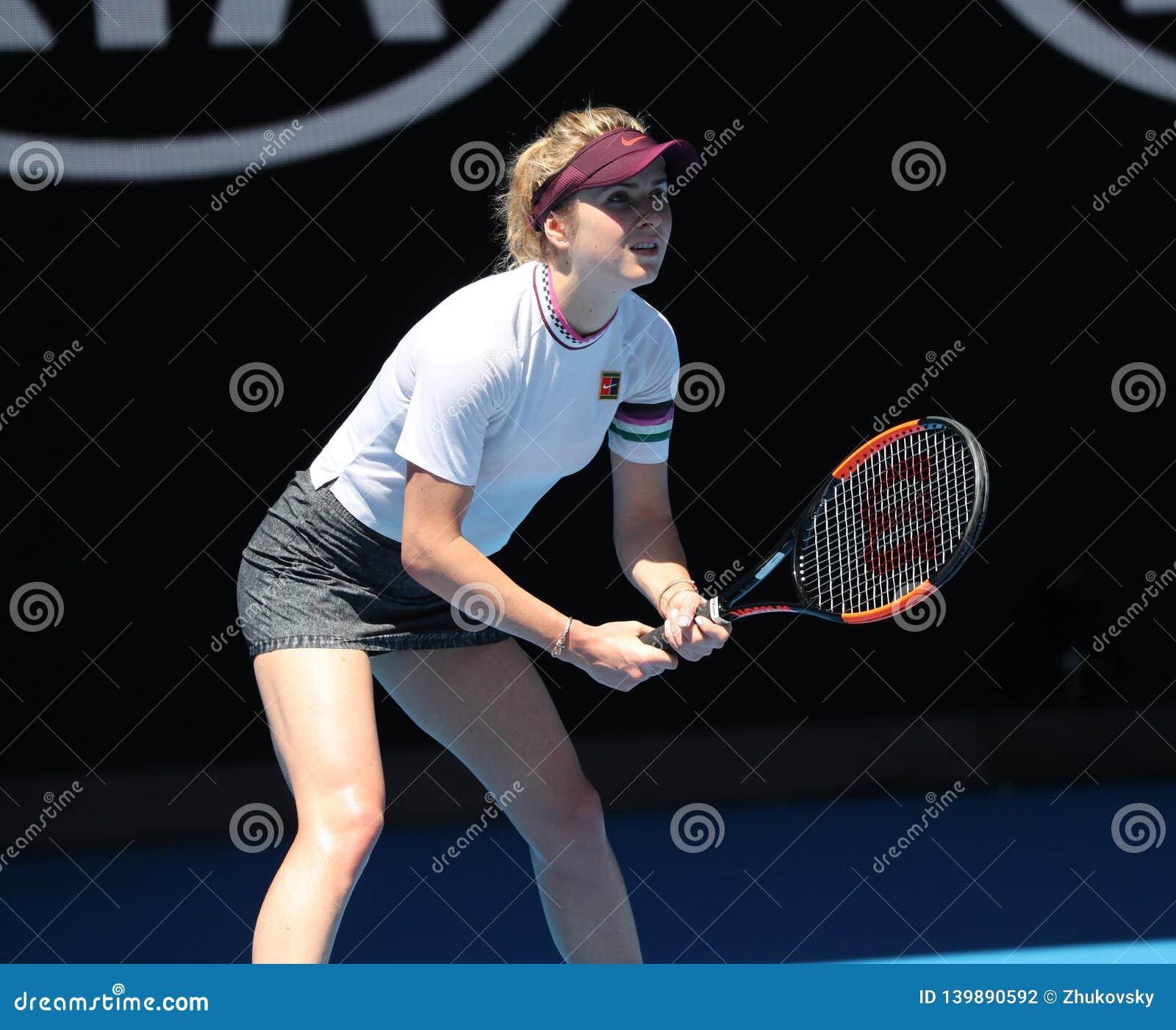 Yrkesmässig tennisspelare Elina Svitolina av Ukraina i handling under hennes kvartsfinalmatch på australier som 2019 är öppen i M
