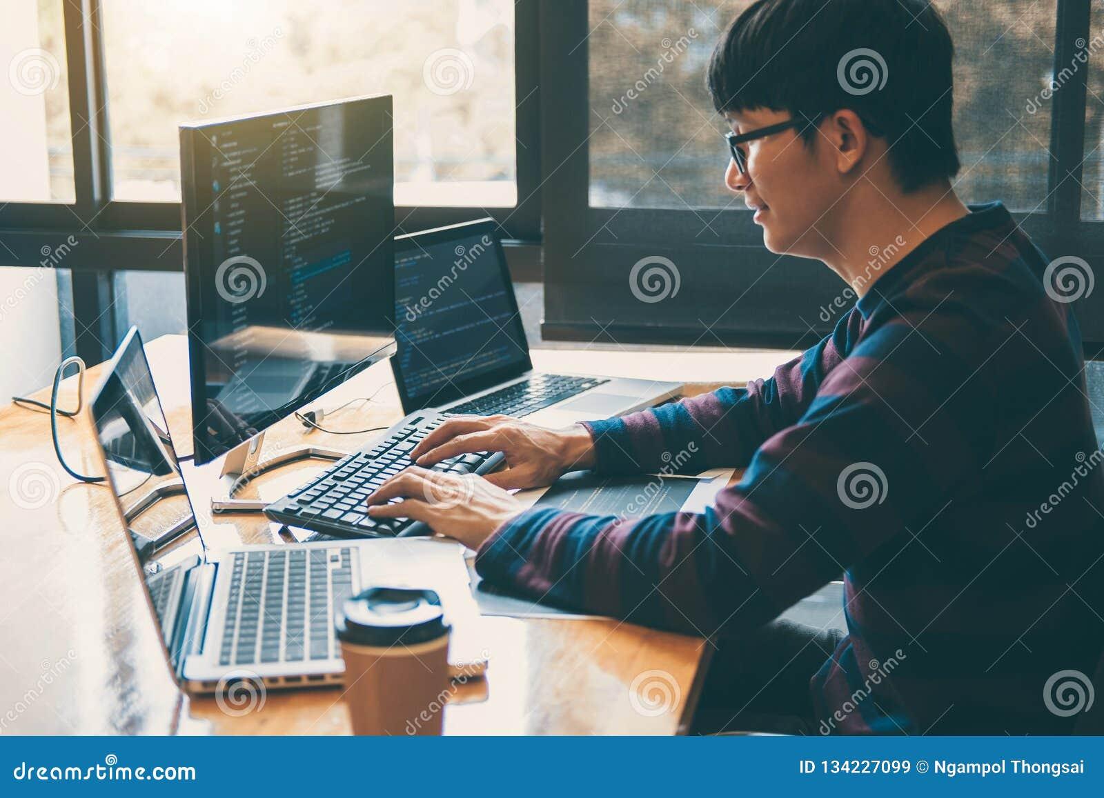 Yrkesmässig utvecklingsprogrammerare som arbetar, i att programmera websiten en programvara och att kodifiera teknologi och att s