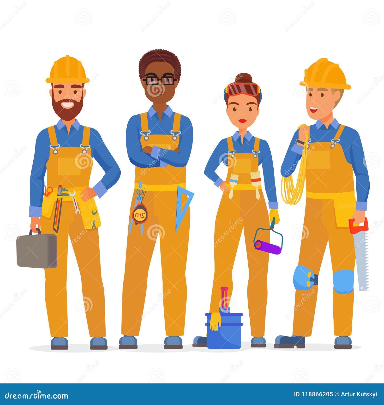 Yrkesmässigt lag för byggnadsarbetarespecialisttecken Vänliga arbetare i workwearuniiform som tillsammans står
