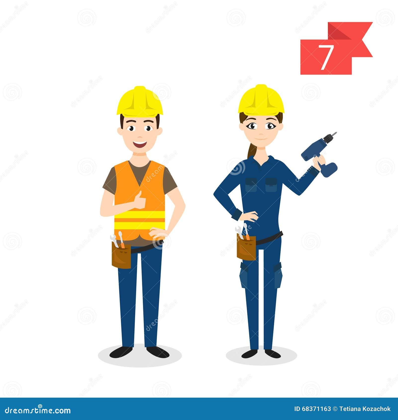 Yrketecken: man och kvinna arbetare