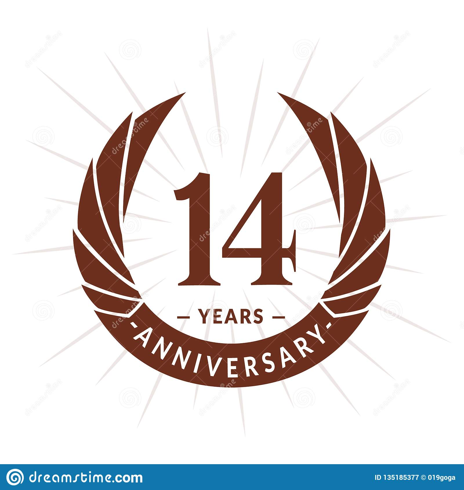 14 years anniversary design template. Elegant anniversary logo design. Fourteen years logo.