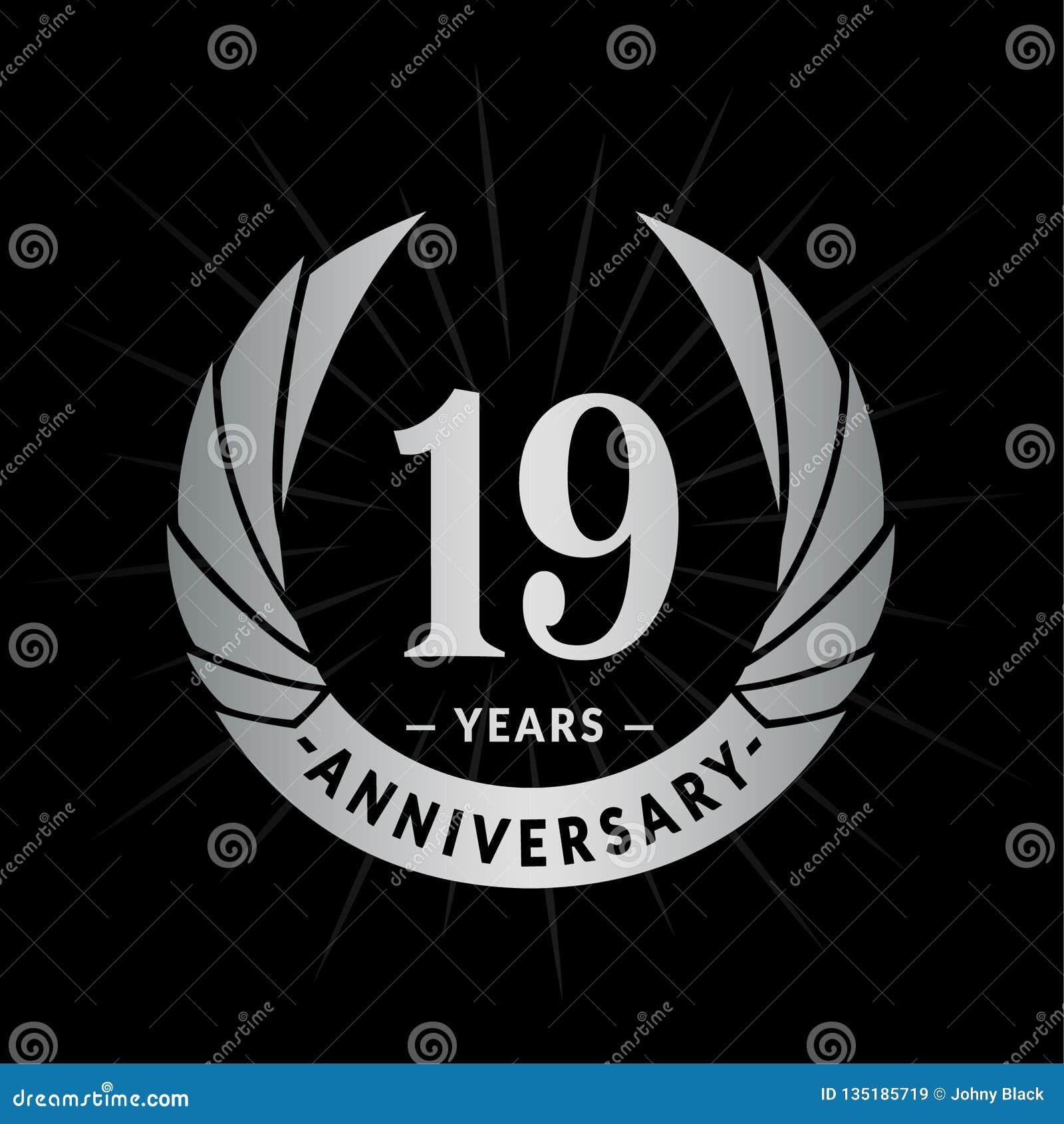 19 years anniversary design template. Elegant anniversary logo design. Nineteen years logo.