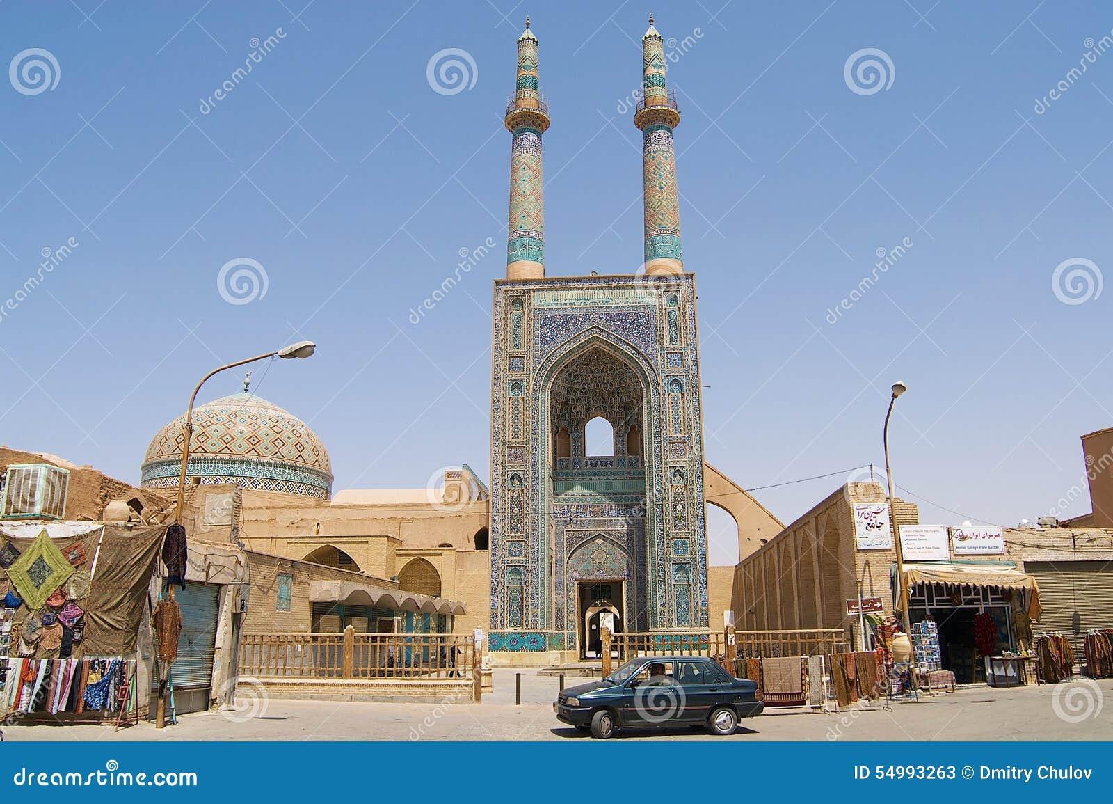 Yttersida av den Jameh moskén i Yazd, Iran