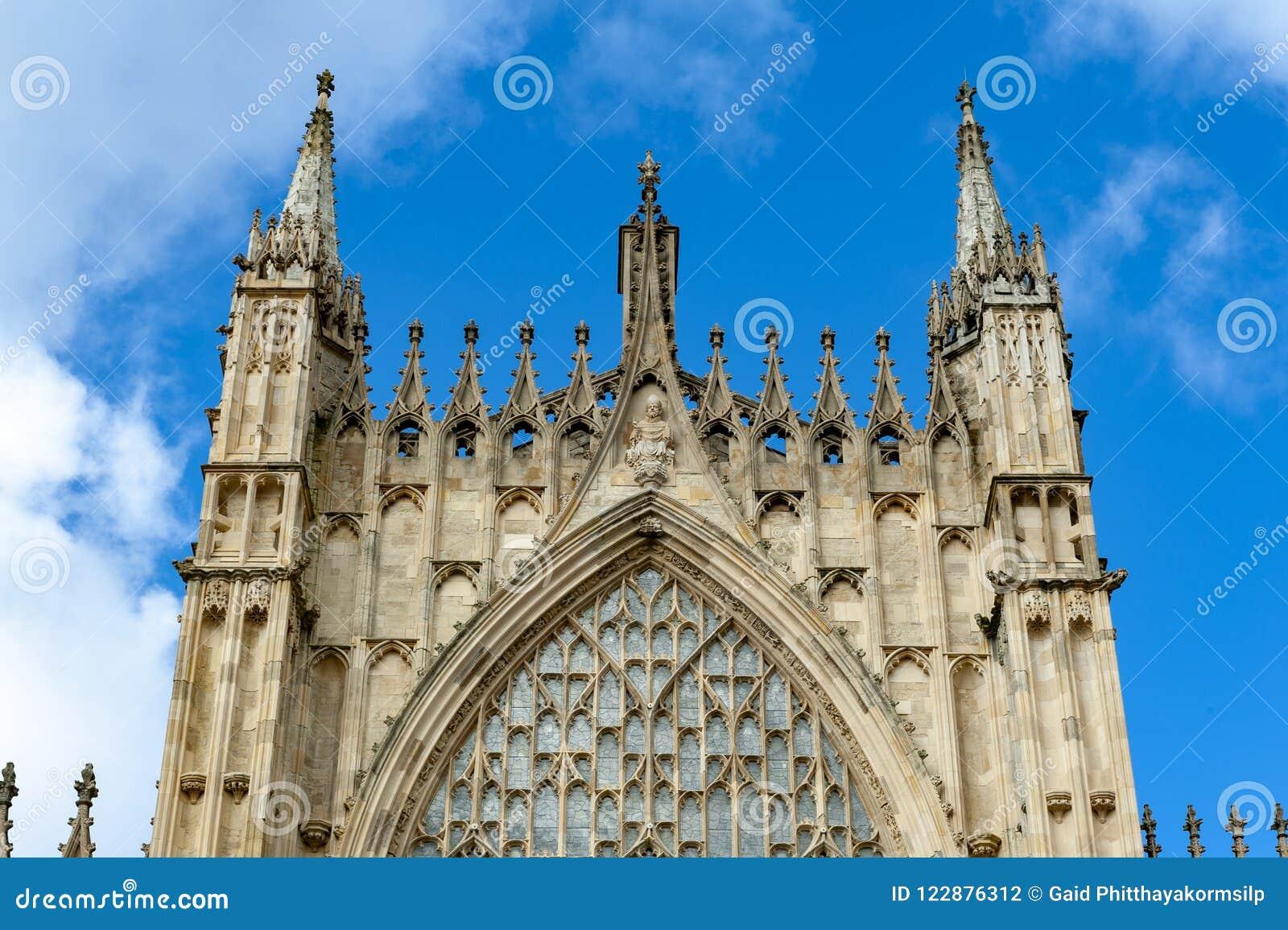 Yttre byggnad av den York domkyrkan, den historiska domkyrkan byggde på engelska gotisk stil som lokaliserades i stad av York, En