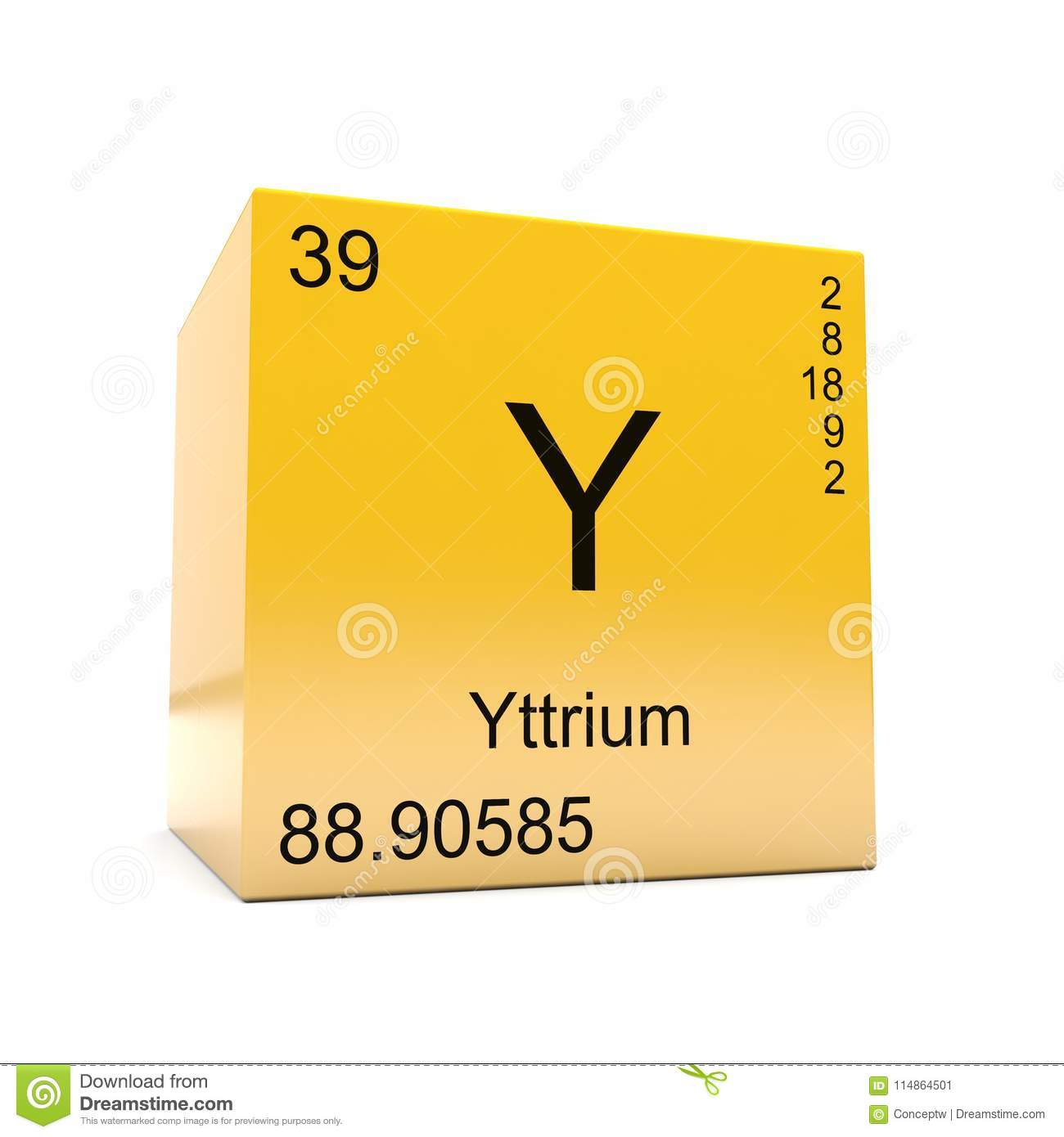 Yttrium Chemical Element Symbol From Periodic Table Stock