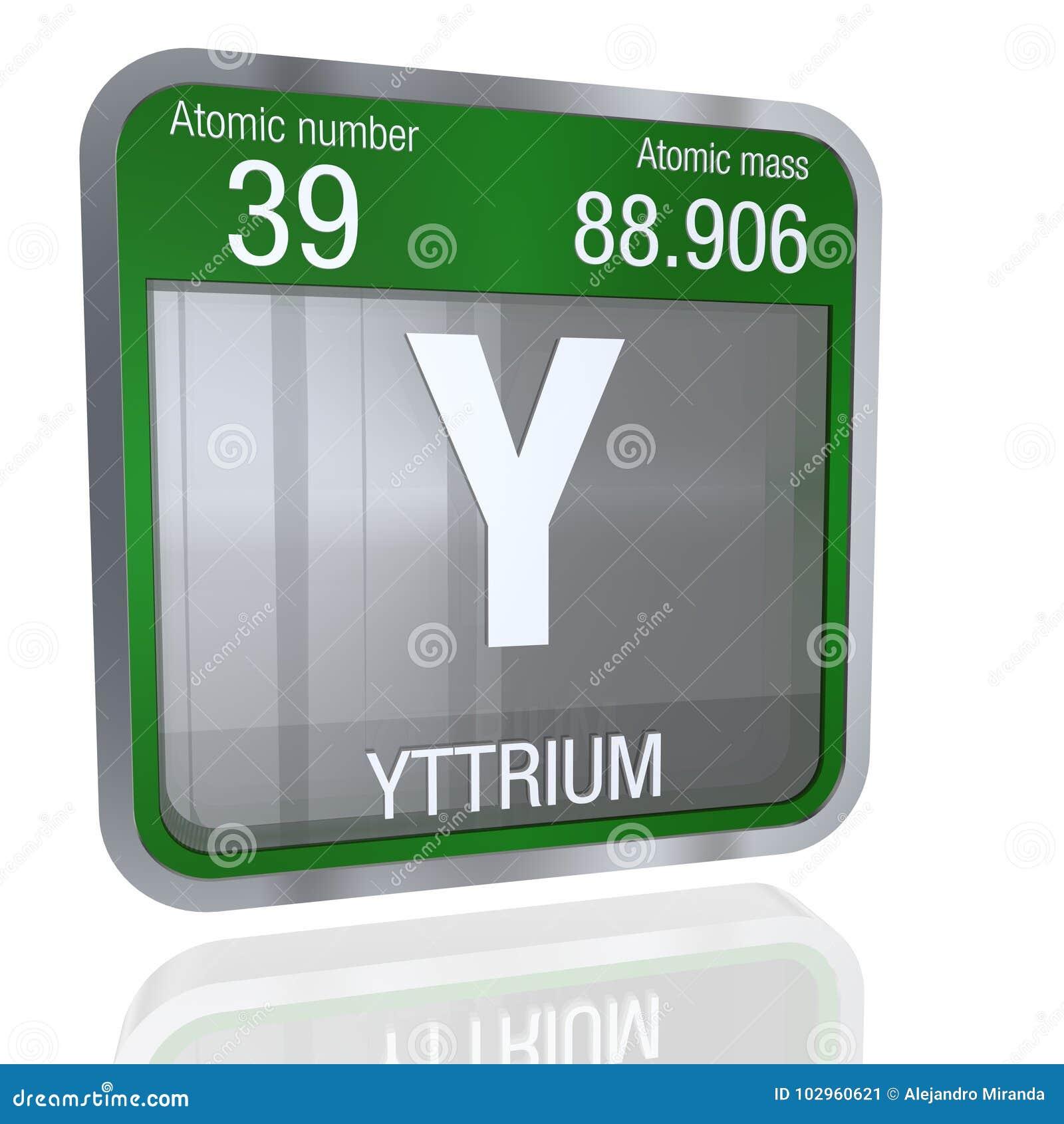 Yttrium Symbol In Square Shape With Metallic Border And Transparent