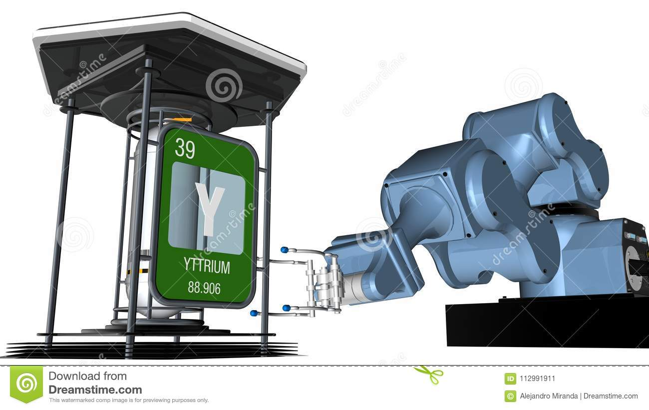 Yttrium symbol in square shape with metallic edge in front of a mechanical arm that will hold a chemical container. 3D render.