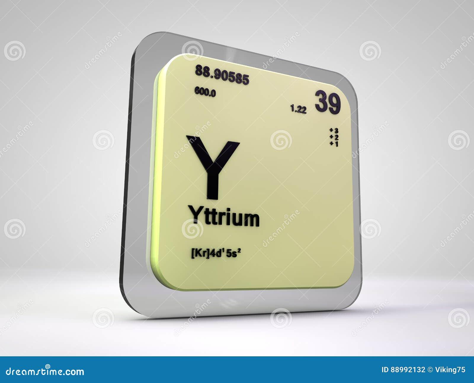 Yttrium Y Chemical Element Periodic Table Stock Illustration