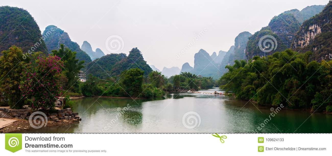 Yu Long river and Karst mountain landscape in Yangshuo Guilin, China
