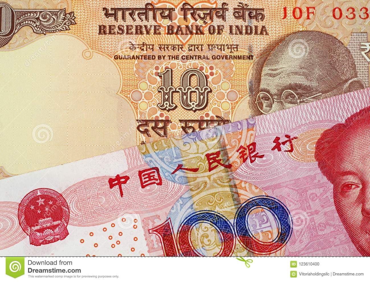 Yuan Bank Note With 10 för kines 100 indisk rupie