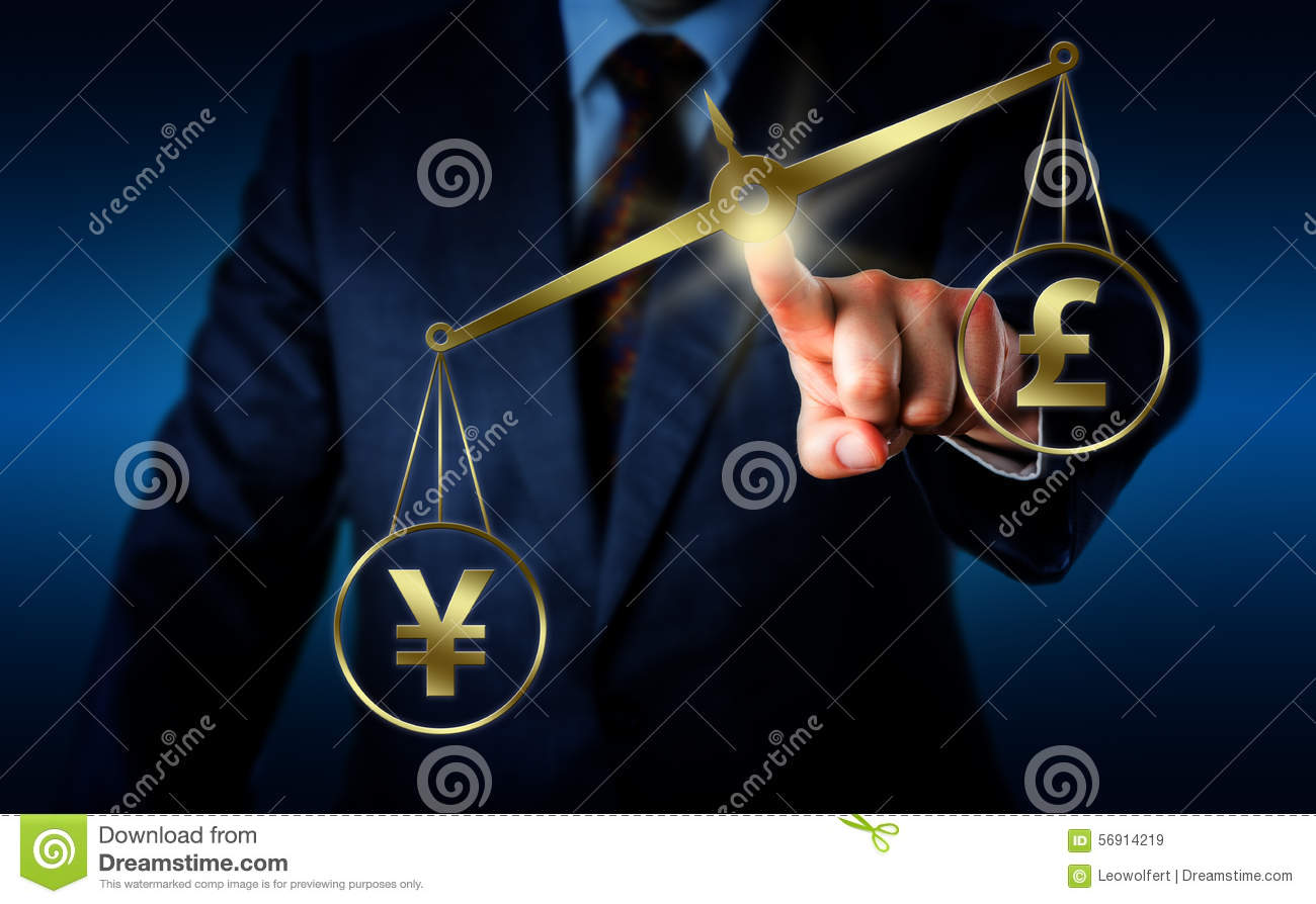 Yuan Sign Outweighing The Pound On A Balance Stock Image Image Of