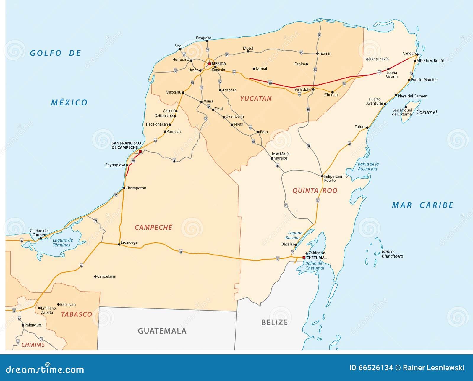 Yucatan peninsula road map stock illustration. Illustration of ...
