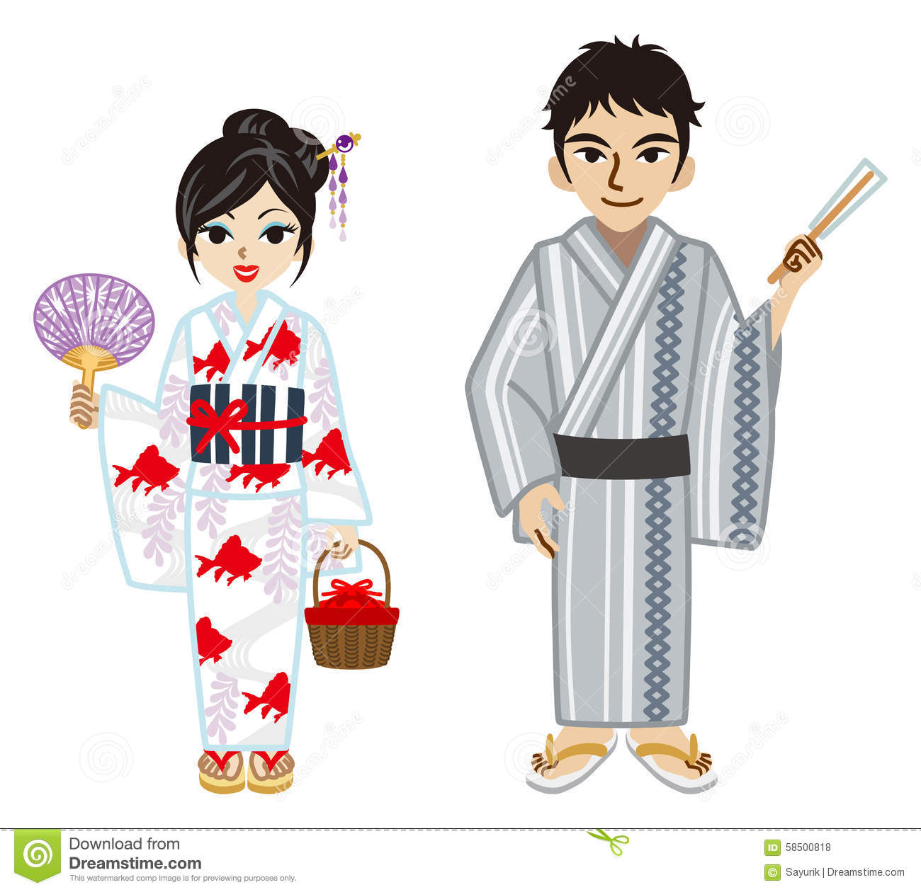 Yukata Couple Stock Vector Illustration Of Kimono Male