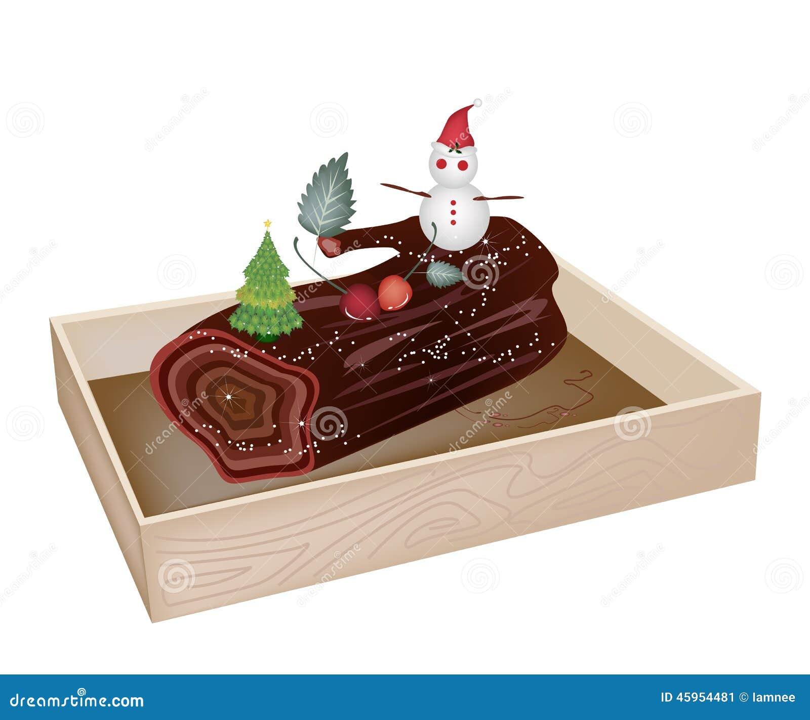 Yule Log Cake delicioso no recipiente de madeira