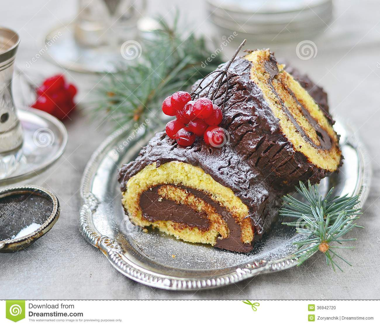 Yule log stock photo image 36942720 for List of traditional christmas desserts