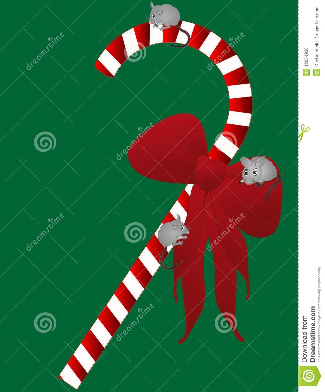 Yuletide Candycane With 3 Mice... Royalty Free Stock Image - Image ...