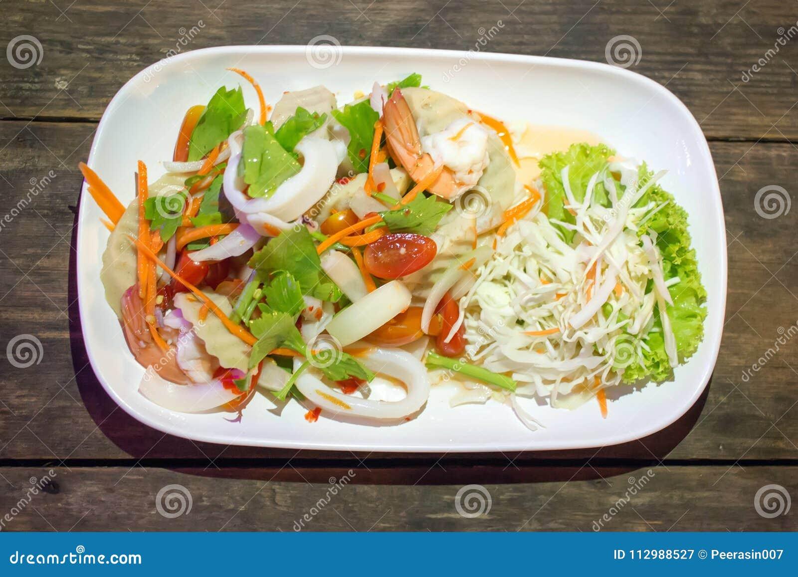 Yum seafood in a Thai restaurant