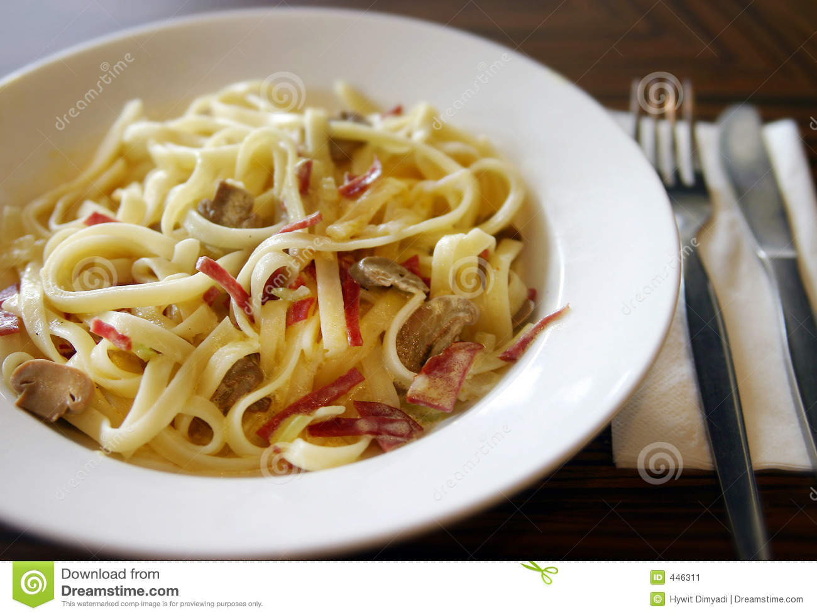Yummy Fettuccine Dinner Stock Image - Image: 446311