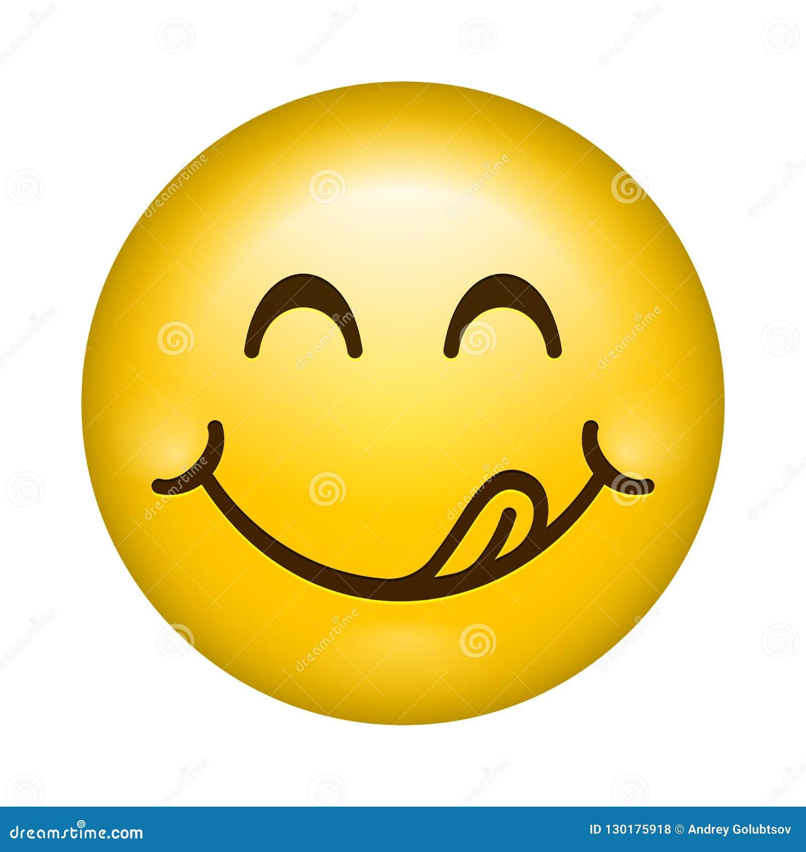 Yummy Smile Vector Cartoon Emoticon Lick Lips With Tongue Delicious