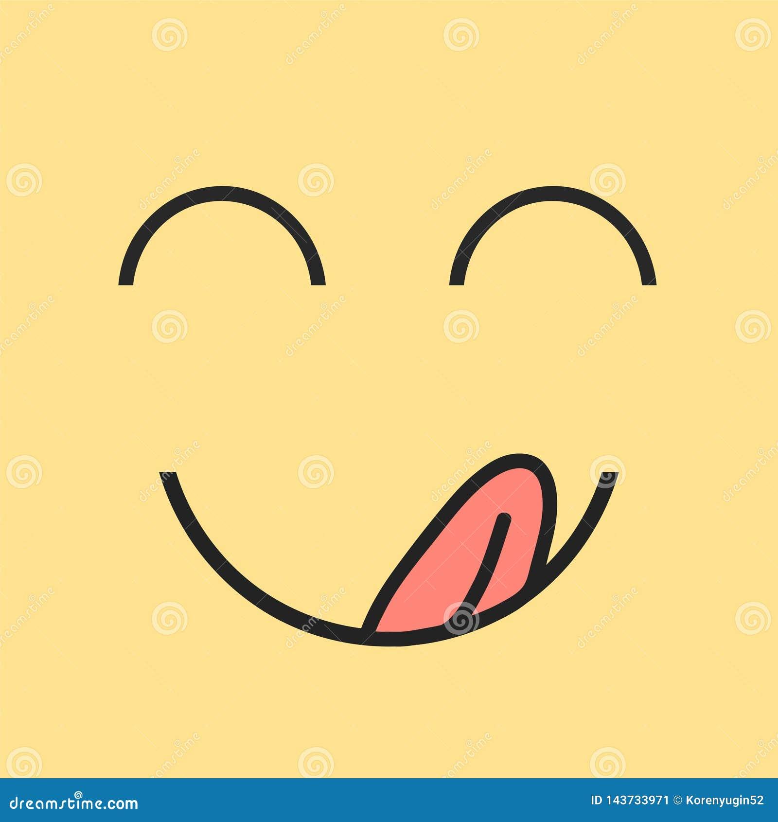 Yummy uśmiech Wyśmienicie, smakowita łasowania emoji twarz, je z usta i jęzoru wyśmienitym cieszy się smakiem Śmieszny głodny yum