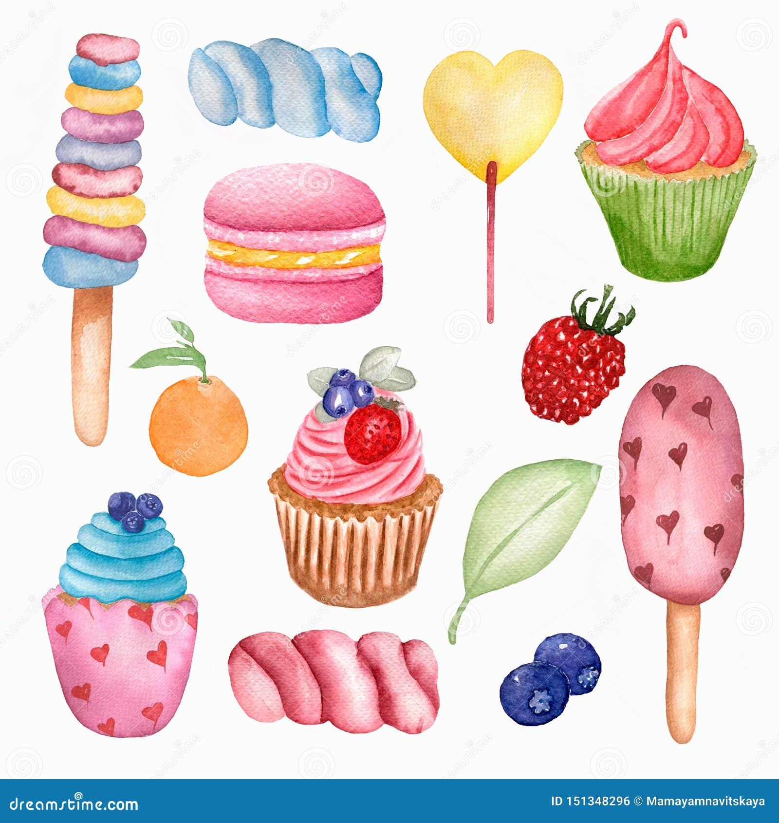 Yummy zoet voedsel naadloos patroon De Lollys, cupcake, de makaron, de bes, de heemst, het roomijs en de sinaasappel van de water