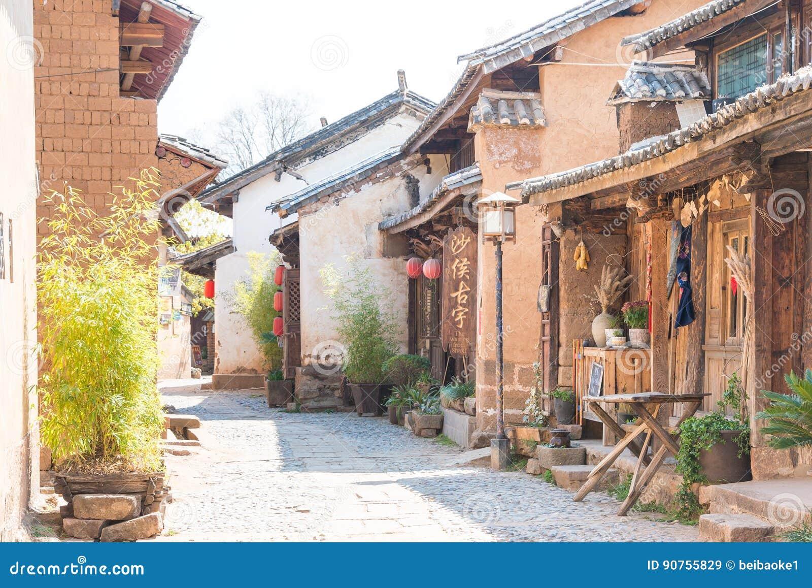 YUNNAN KINA - MARS 20 2015: Shaxi forntida by berömd ANC